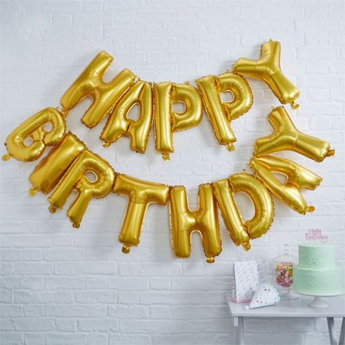 "Happy Birthday Gold Balloon Bunting - 12"" Foil (each)"